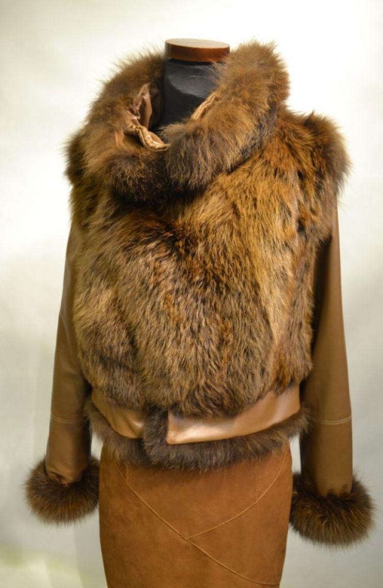 Komplet: kurtka skóra + kamizelka z lisa